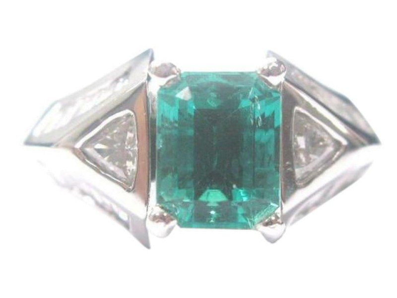 Platinum NATURAL BERYL EMERALD Diamond Anniversary Jewelry Ring 4.15CT