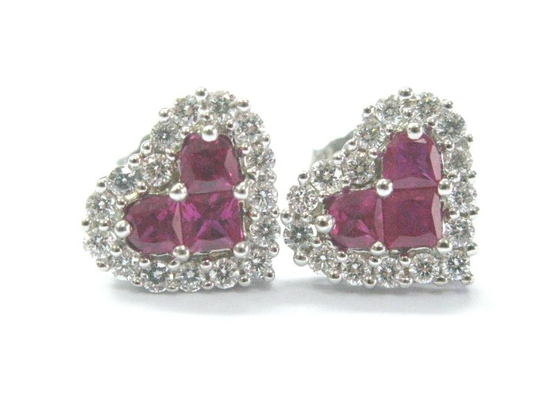 Fine Gem Ruby Diamond Heart Shape White Gold Stud Earrings 1.22Ct