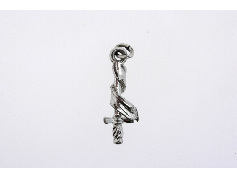 Vintage Sterling Silver Charm Sword Wrapped in Cloth