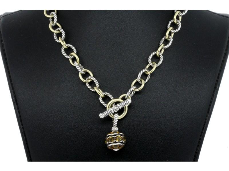 David Yurman Citrine Diamond Ball Pendant Necklace Oval Chain 18k Gold Sterling