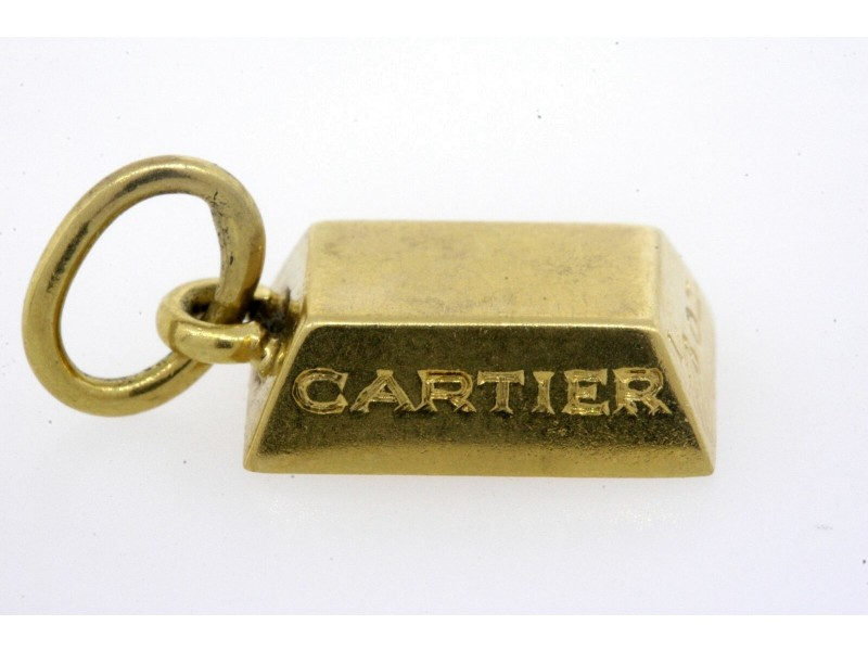 Cartier 18k Yellow Gold 1/8 oz ounce Ingot Bar Charm Pendant Vintage Rare
