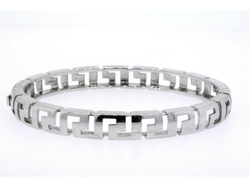 "Versace Bracelet 18k White Gold Bangle Greek Key Design 7"" 35.9g Heavy"