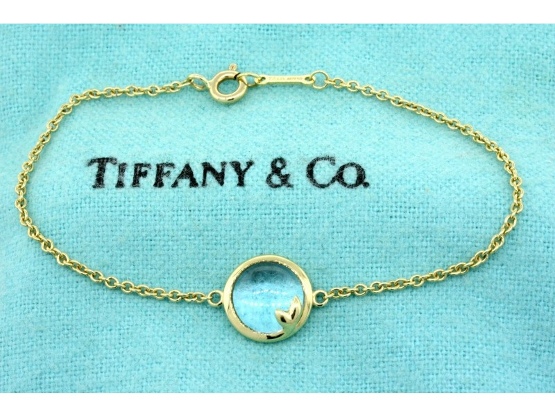 Tiffany & Co. Bracelet Olive Leaf Blue Topaz Paloma Picasso 18k Yellow Gold 6.25