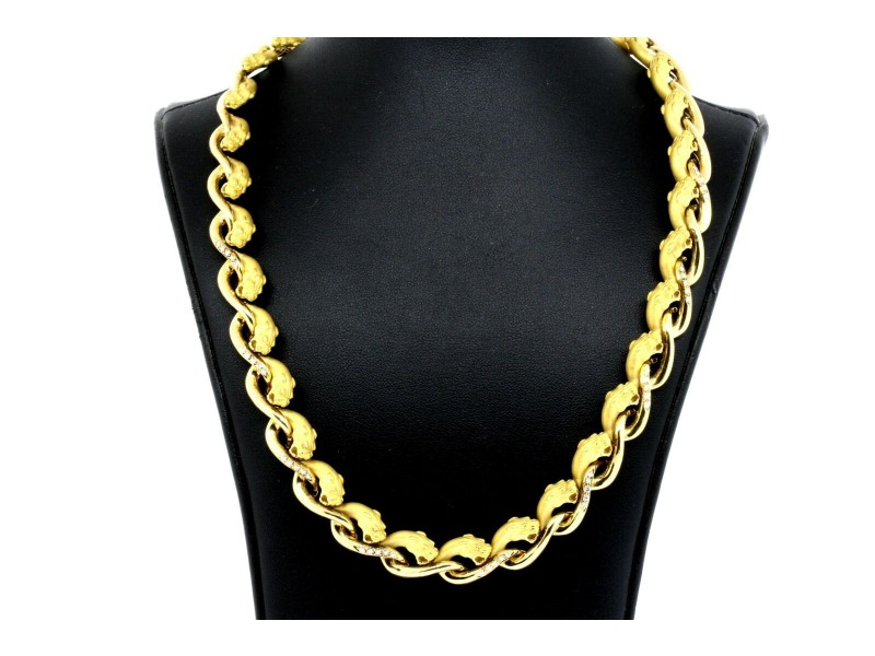 """Carrera Y Carrera Panther Diamond Necklace 18k Yellow gold 17"""" 107g Heavy"""