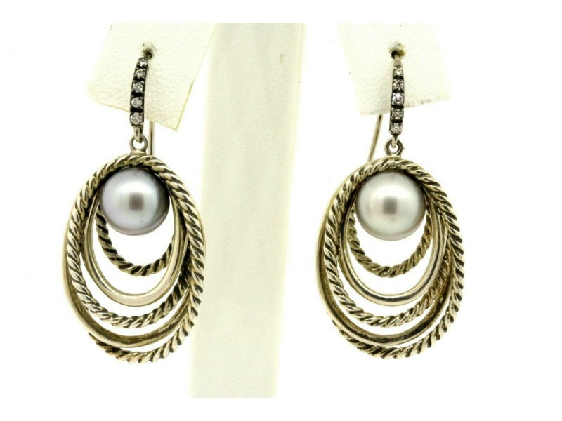 David Yurman Earrings Pearl Crossover Dangle Drop Diamond Gray Cable 5 row RARE