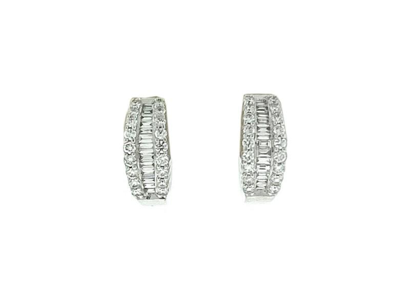 14k White Gold Diamond Small Huggie Earrings Aprox .60 CTW