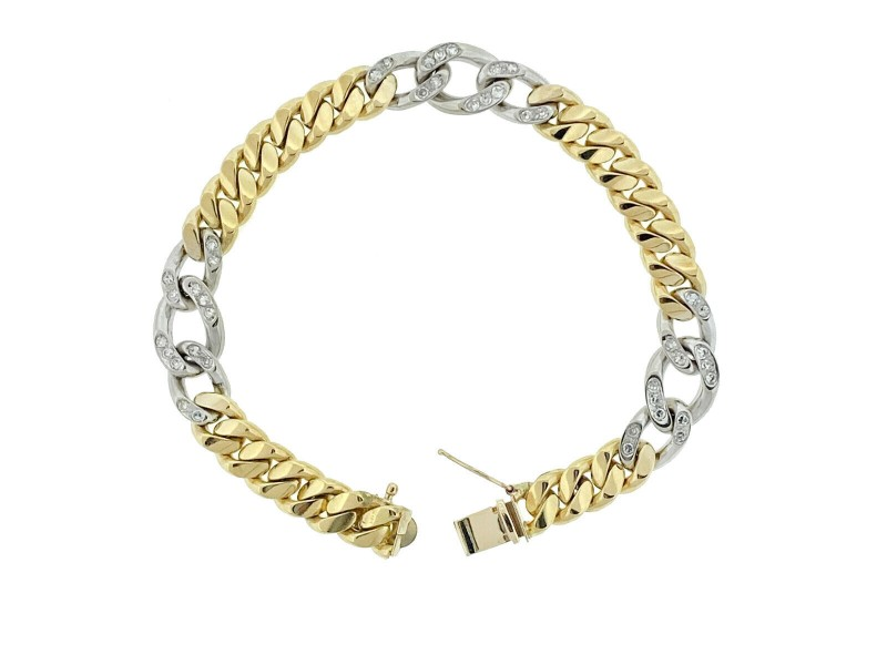 18k Two Tone Cuban Diamond Station Link Bracelet Approx 1.00ctw