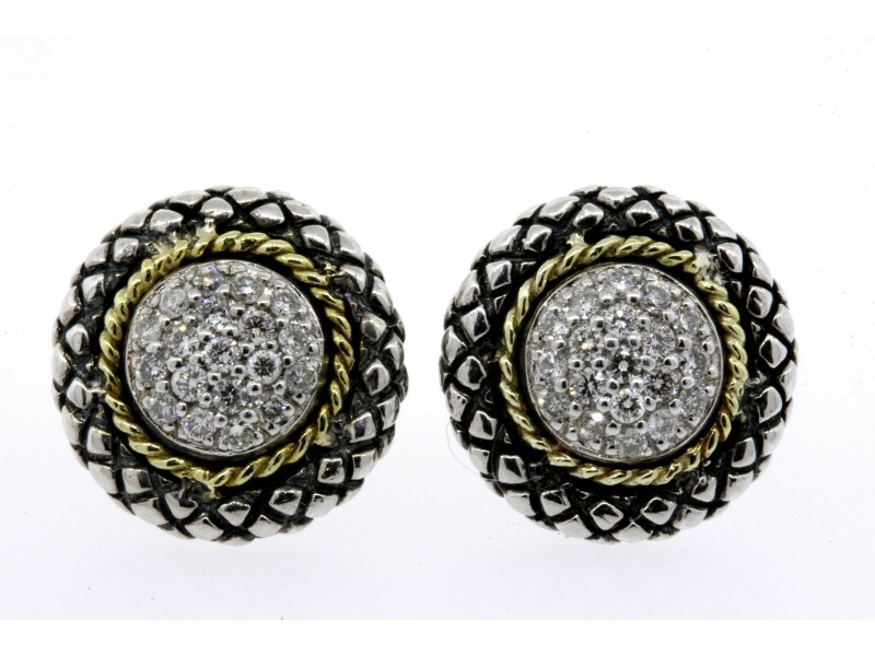 Andrea Candela Diamond Earrings Stud 18k Gold Sterling Silver