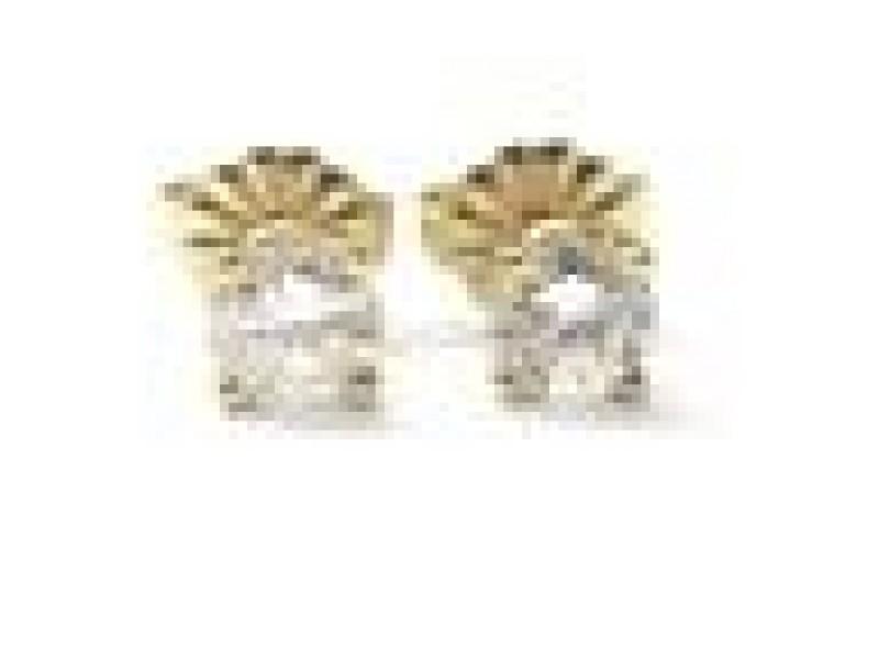 Fine Round Cut Diamond Stud Earrings Yellow Gold .60CT