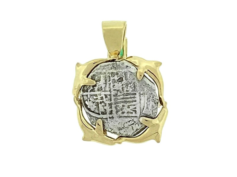 14k Two Tone Emerald Dolphin Atocha Coin Pendant