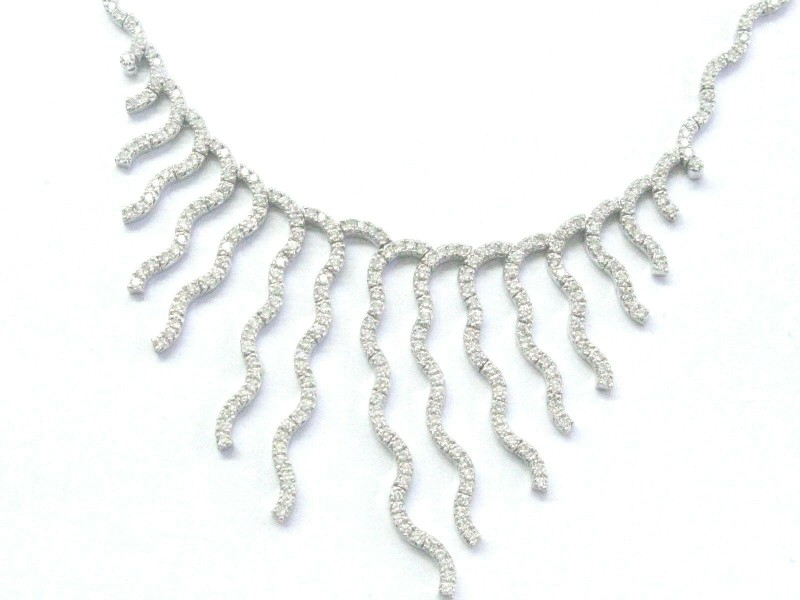 """NATURAL Round Diamond Line Drop SOLID White Gold Necklace 17"""" 3.00Ct"""