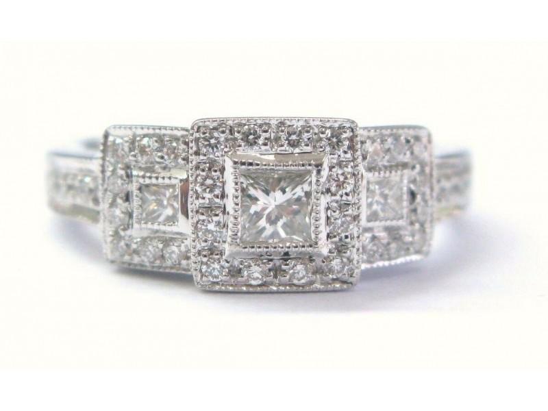 Princess Cut Diamond Three Stone Engagement Ring Solid White Gold 14Kt .35Ct