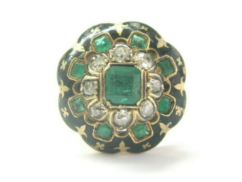 Vintage 18Kt Colombian Green Emerald & Old Mine Cut Diamond Ring 1.28ct
