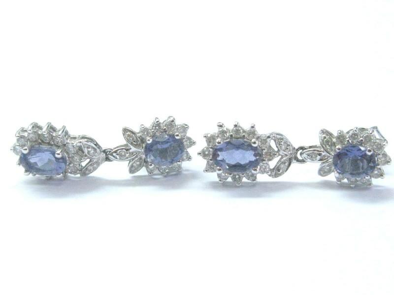 "Natural Tanzanite & Diamond Drop Earrings White Gold 1.52CT 1"""