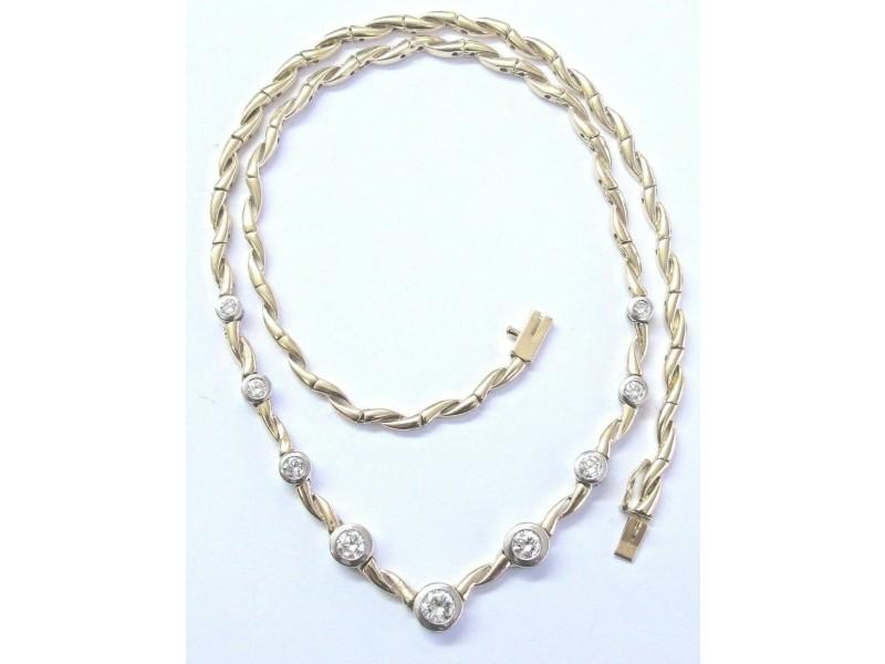 "Round Cut NATURAL Diamond Bezel Set 2-Tone Necklace 1.58Ct F-VVS2 17"""