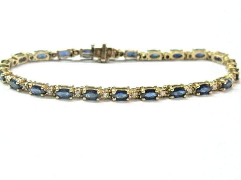 "Oval Blue Sapphire & Diamond Tennis Bracelet 14Kt Yellow Gold 6.23Ct 7.25"""