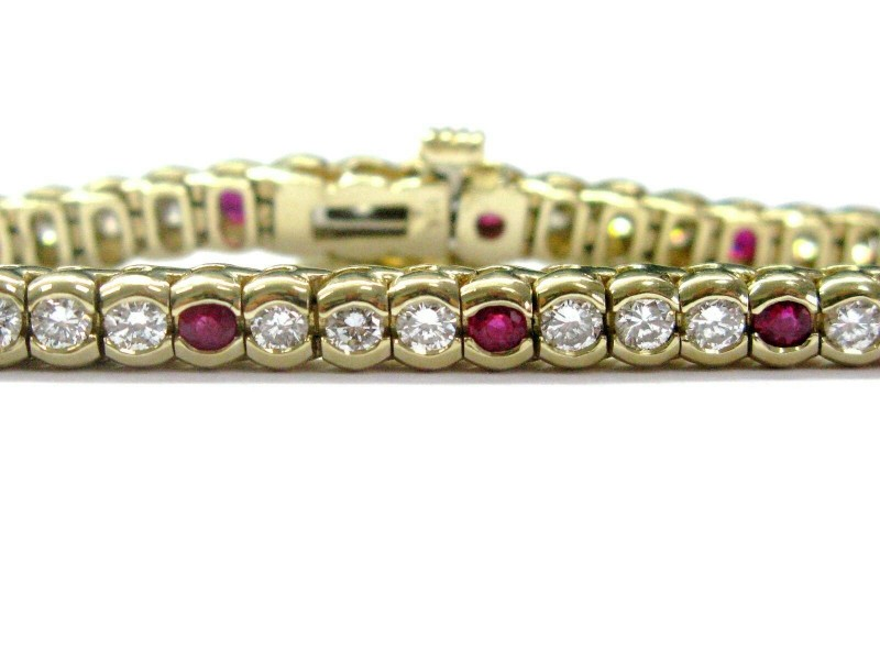 Fine Gem Ruby Diamond Yellow Gold Tennis Bracelet Yellow Gold 3.96CT