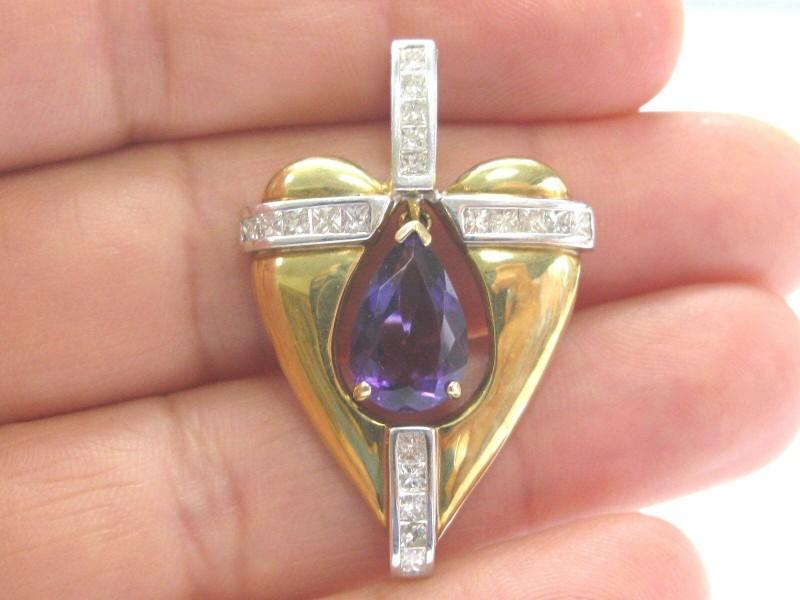 18Kt Gem Amethyst & Diamond 2-Tone Gold Large Heart Pendant 6.60Ct