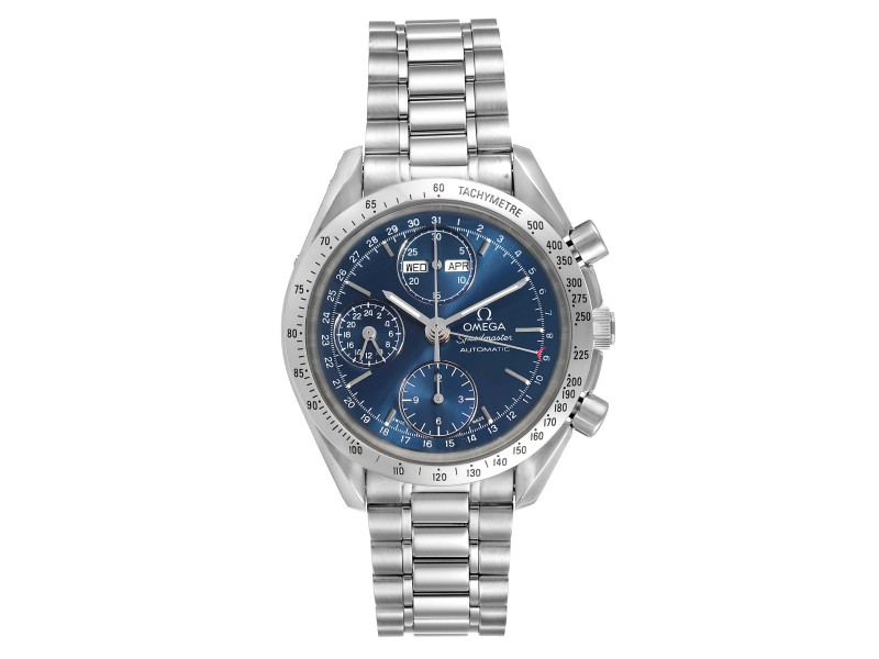 Omega Speedmaster Day Date Blue Dial Steel Mens Watch 3521.80.00