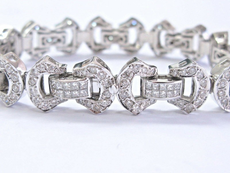 "NATURAL Princess & Round Cut Diamond Bracelet 18Kt White Gold 7.25"" 7.00Ct"