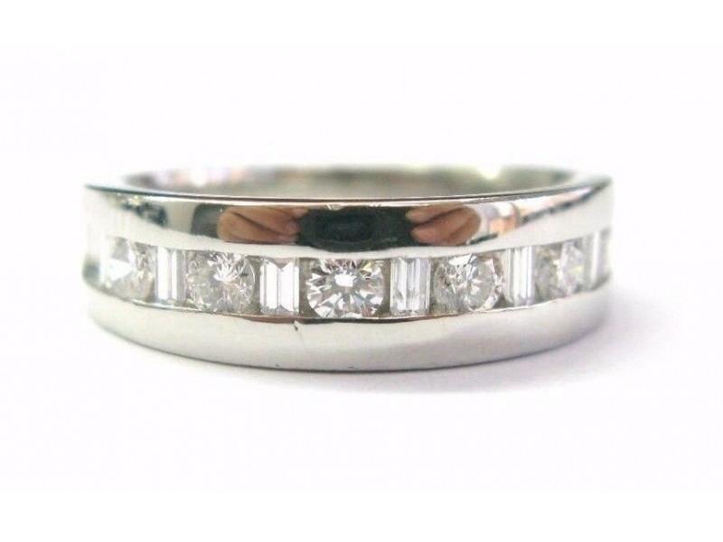 Platinum Round & Baguette Shape Diamond Wedding Band Ring 1.00CT