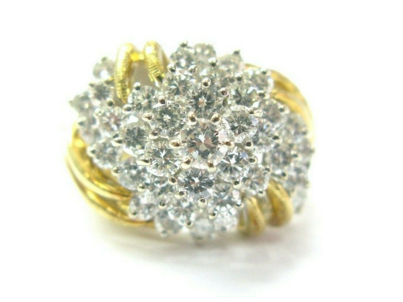 Natural Round Cut Diamond Yellow Gold Cluster Jewelry Ring 18Kt 2.12Ct F-VS1