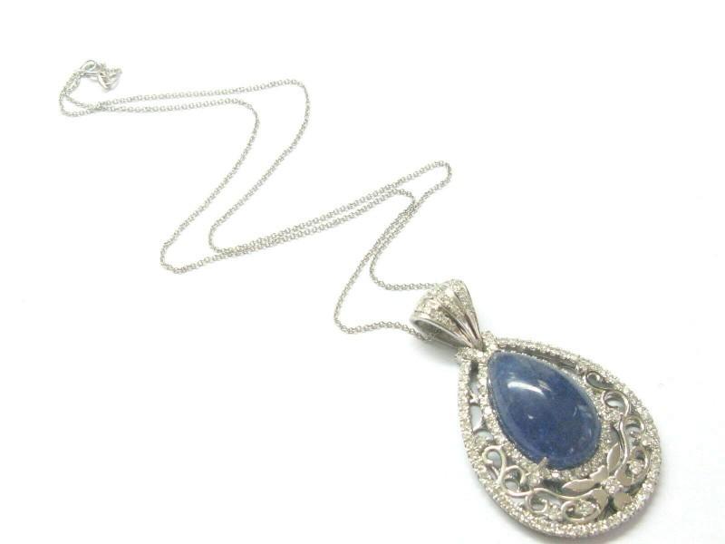 """Blue Quartz & Diamond Pendant W Chain 18Kt White Gold 12.25Ct 18"""" 2"""""""