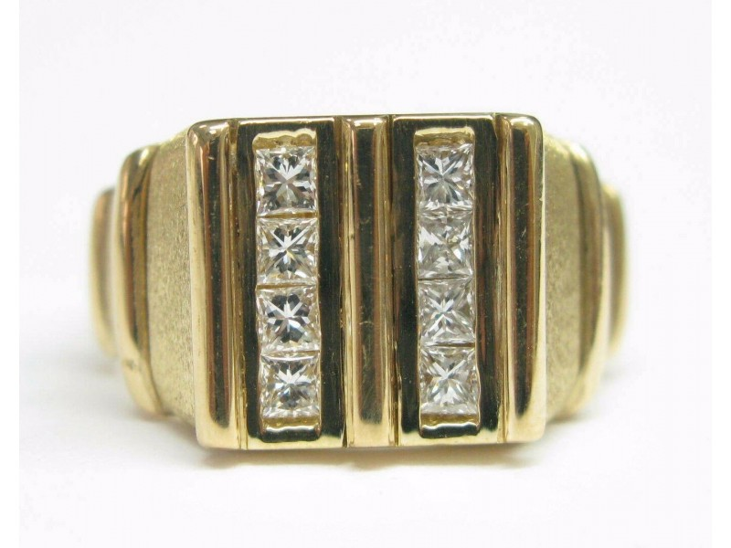 Fred of Paris 18Kt Princess Cut Diamond 2-Row Jewelry Ring Yellow Gold 1.00CT