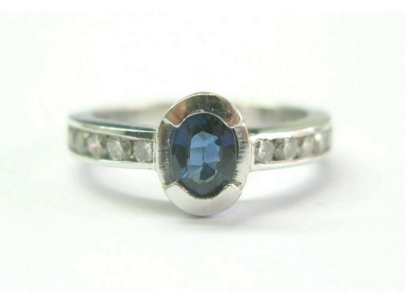 Natural Ceylon Sapphire & Diamond Bezel Set White Gold Ring .80Ct 14Kt