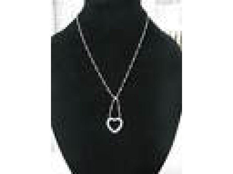 "Tiffany & Co Platinum Hearts Pendant Necklace .55Ct 16"""