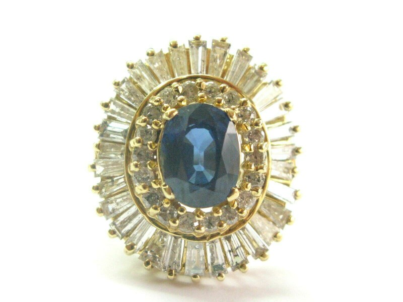 Oval Sapphire & Diamond Ballerina Ring Solid Yellow Gold 14Kt 5.64CT SIZEABLE