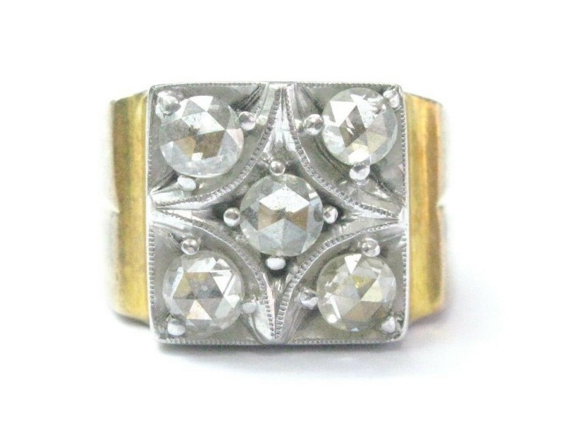 Rose Cut Diamond Vintage Ring Two-Tone 14KT Solid Gold 1.00Ct SIZEABLE