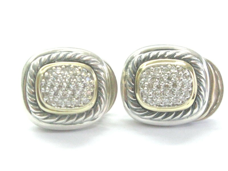 David Yurman .925 Sterling 18K Gold Diamond Pave Albion Earrings 1.00ct