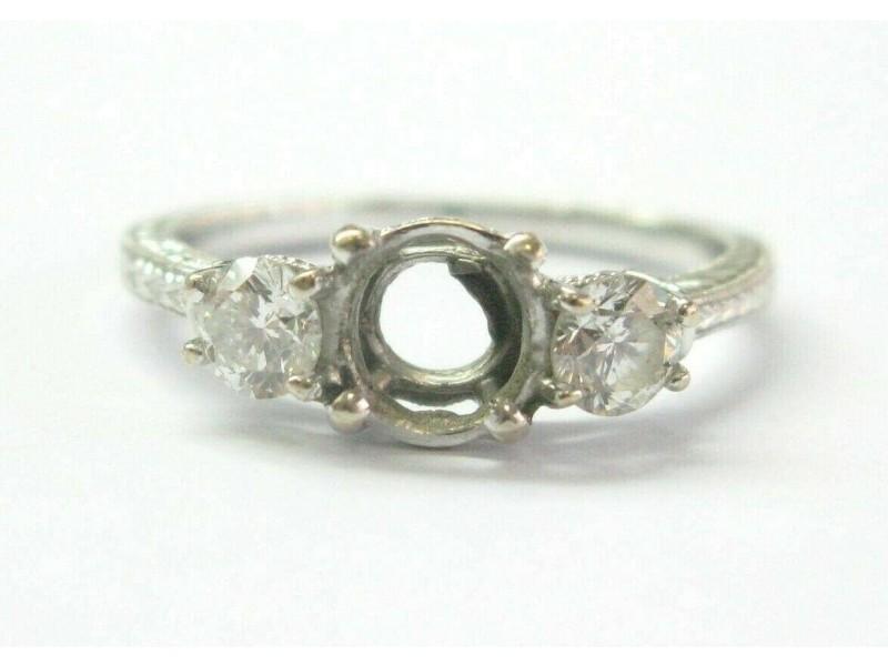 Three Stone Diamond Semi Mount Ring 14Kt White Gold Milgrain Design ( .50Ct )
