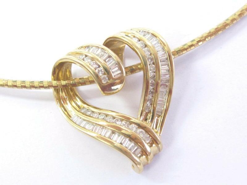 Fine Round & Baguette Diamond Heart Pendant Necklace Yellow Gold 1.00Ct
