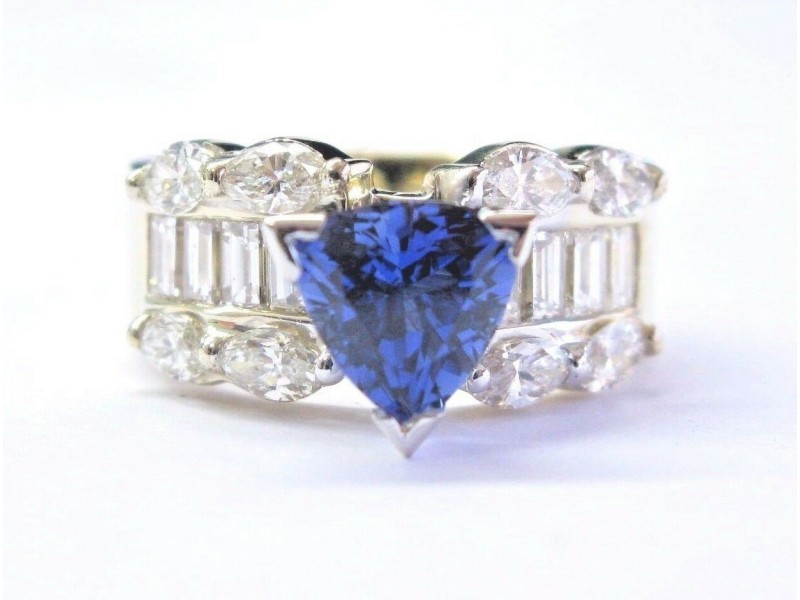 NATURAL Gem Trillion CUT Tanzanite & Diamond SOLID Yellow Gold Ring 4.89CT