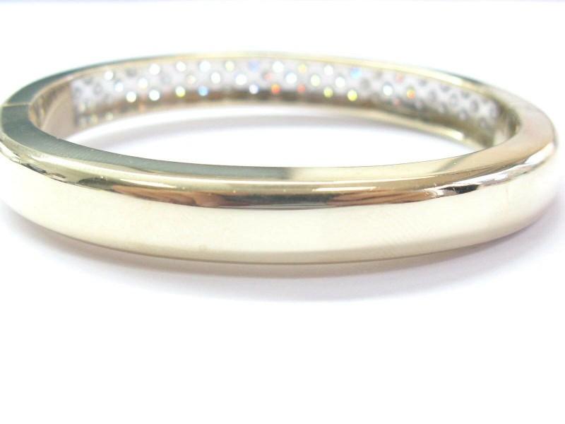 Three Row Round Diamond Bangle 14Kt Yellow Gold 4.55Ct G-VS1 8.2mm WIDE