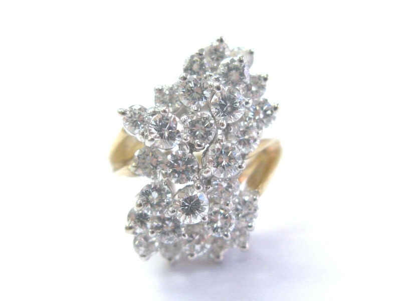 Fine Round Cut Diamond Cluster Yellow Gold Jewelry Ring 30-Stones 14Kt 2.85Ct