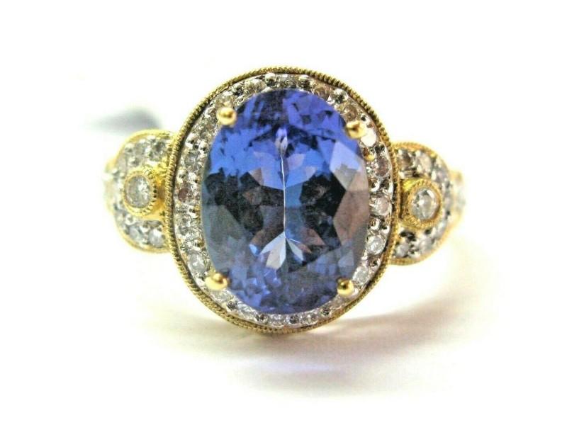 18Kt Natural Oval Tanzanite & Diamond Yellow Gold Ring 3.47CT