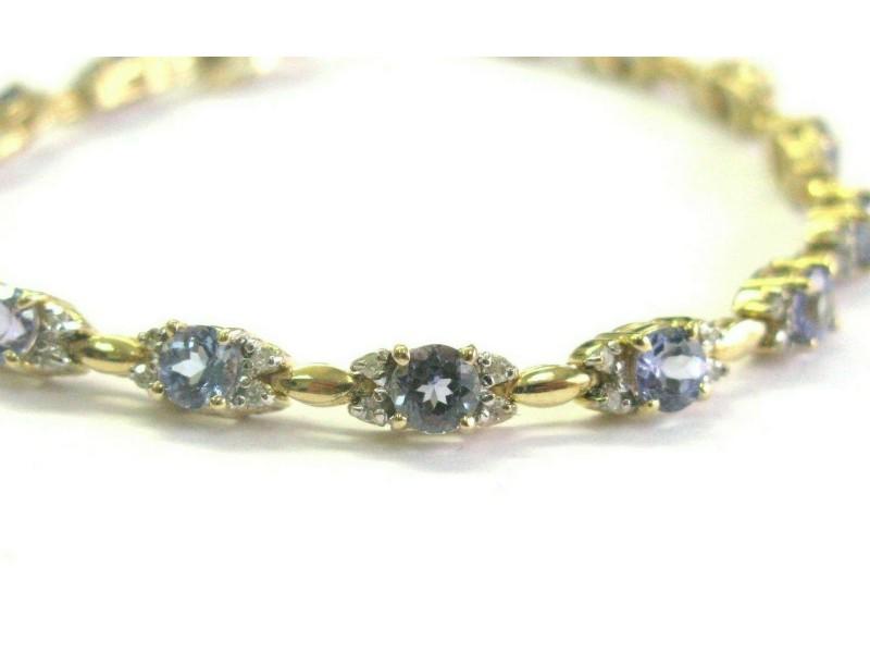 "Tanzanite & Diamond Tennis Bracelet Solid 14Kt Yellow Gold 7"" 6.50Ct AAA-VS"