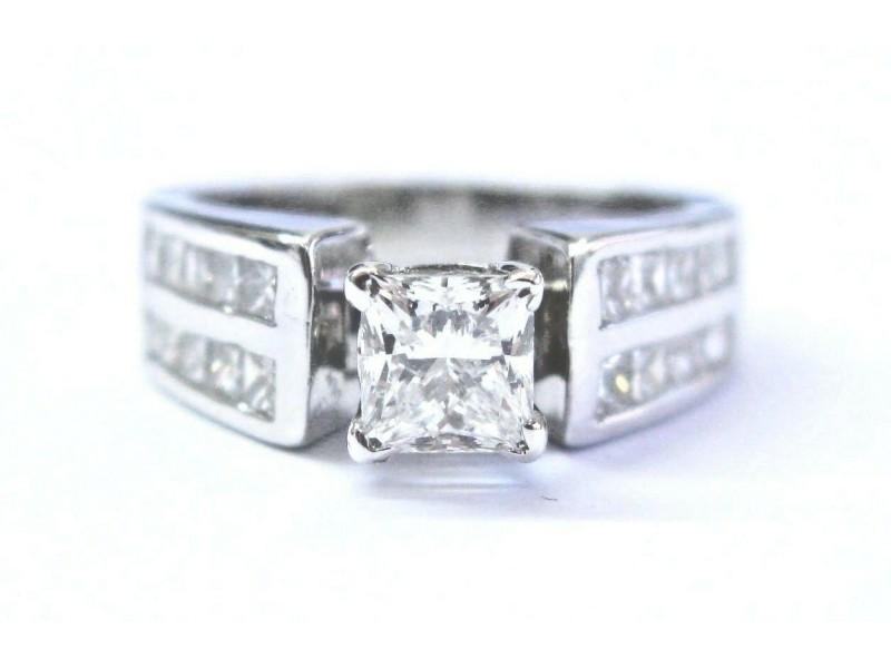 Platinum Princess Cut Diamond Solitaire W Accent Engagement Ring F-VS1