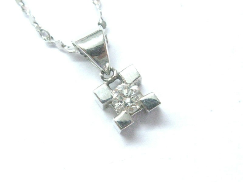 "Natural Round Diamond Solitaire White Gold Pendant Necklace 18Kt .30Ct FVVS2 16"""