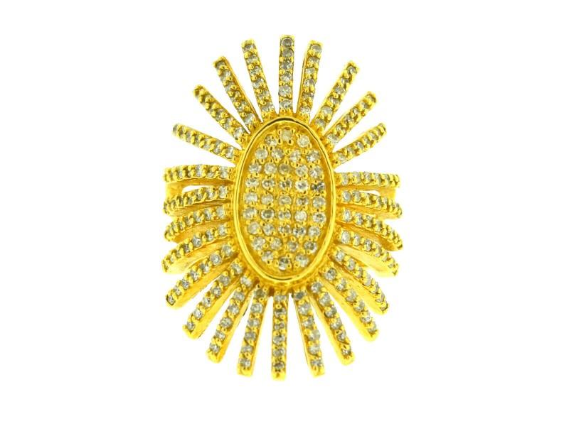 18k Yellow Gold Starburst Pave Diamond Ring Approx 1.50ctw