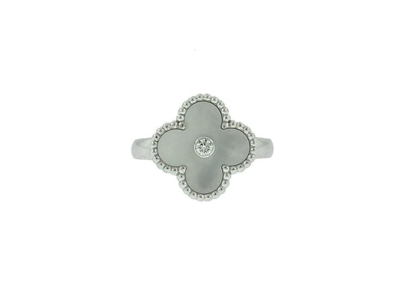 Van Cleef & Arpels 18k White Gold Mother of Pearl Diamond Vintage Alhambra Ring