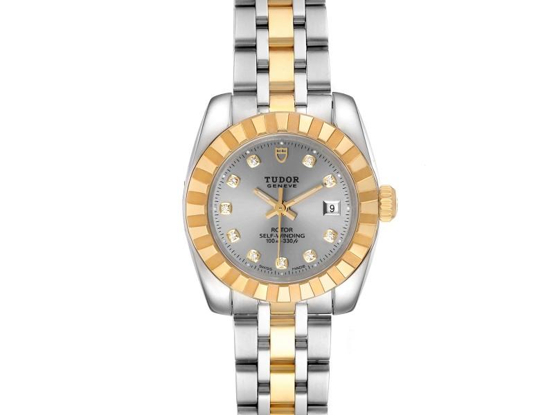 Tudor Classic Date Steel Yellow Gold Diamond Ladies Watch 22013