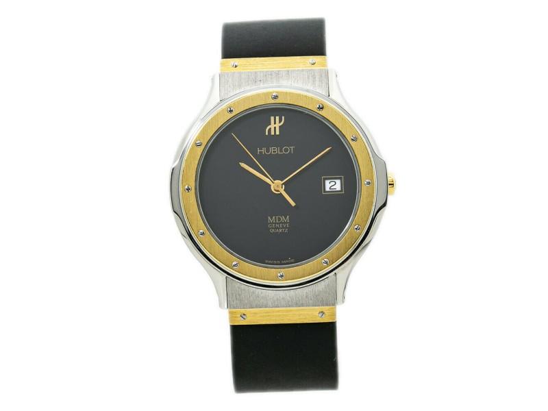 Hublot Classic MDM 1521.2 18K Yellow Gold Bezel Mens Quartz Watch 36MM