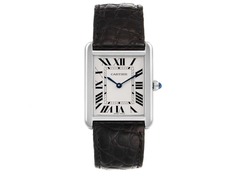 Cartier Tank Solo Steel Silver Dial Black Strap Unisex Watch W1018355