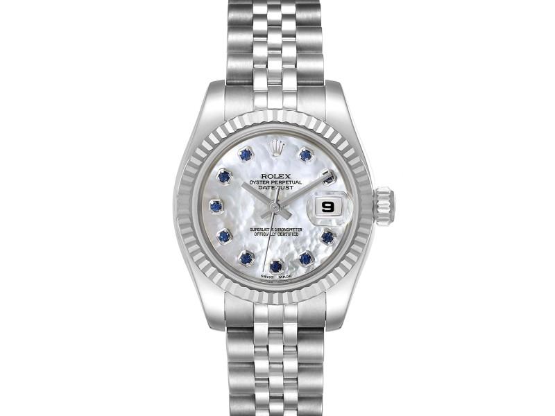 Rolex Datejust Steel White Gold MOP Saphire Ladies Watch 179174
