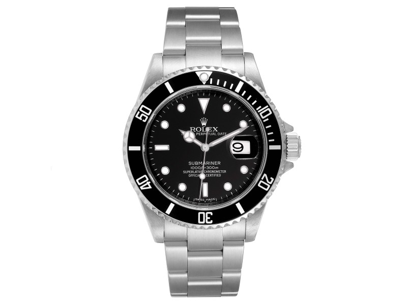 Rolex Submariner Black Dial Stainless Steel Mens Watch 16610