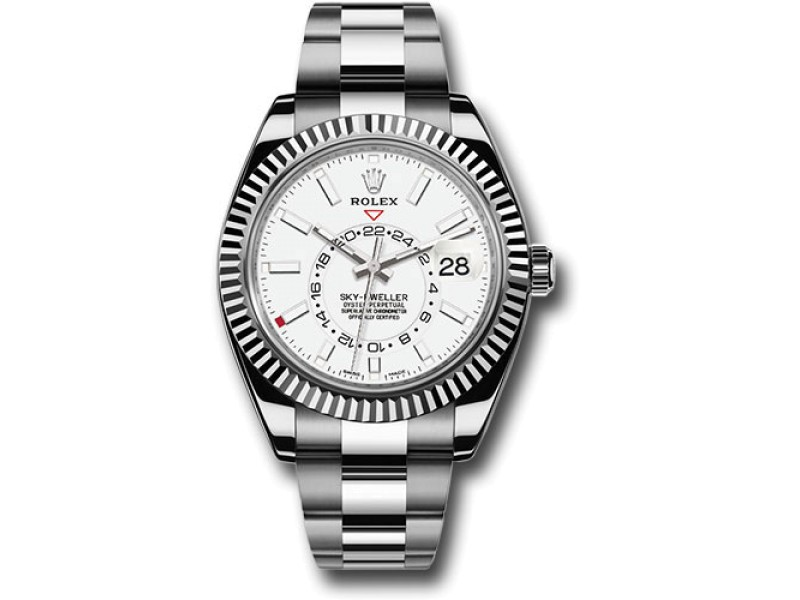 Rolex Sky-Dweller 326934WH 18K White Gold and Stainless Steel White Dial 42mm Automatic Mens Watch